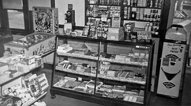 Talbot's candy counter, groceries, popcorn machine, and pinball machine